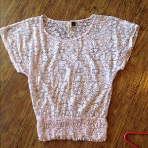 Small lace pink sheer cute top